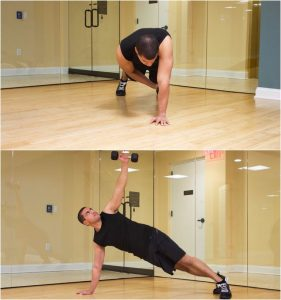 Dumbbell Side Plank with Rotation